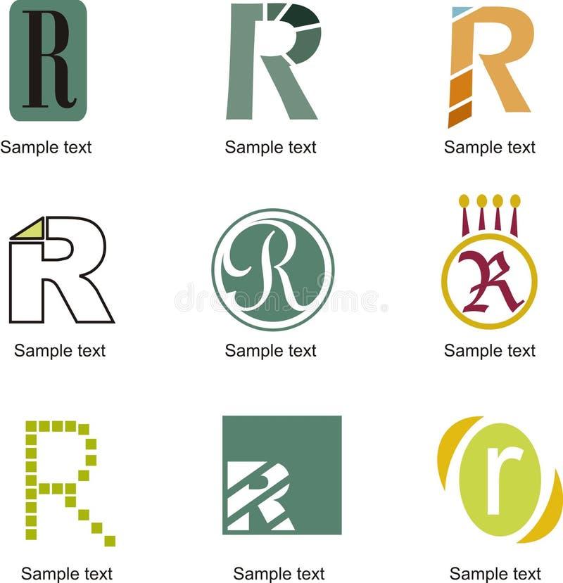 Logo för bokstav R stock illustrationer