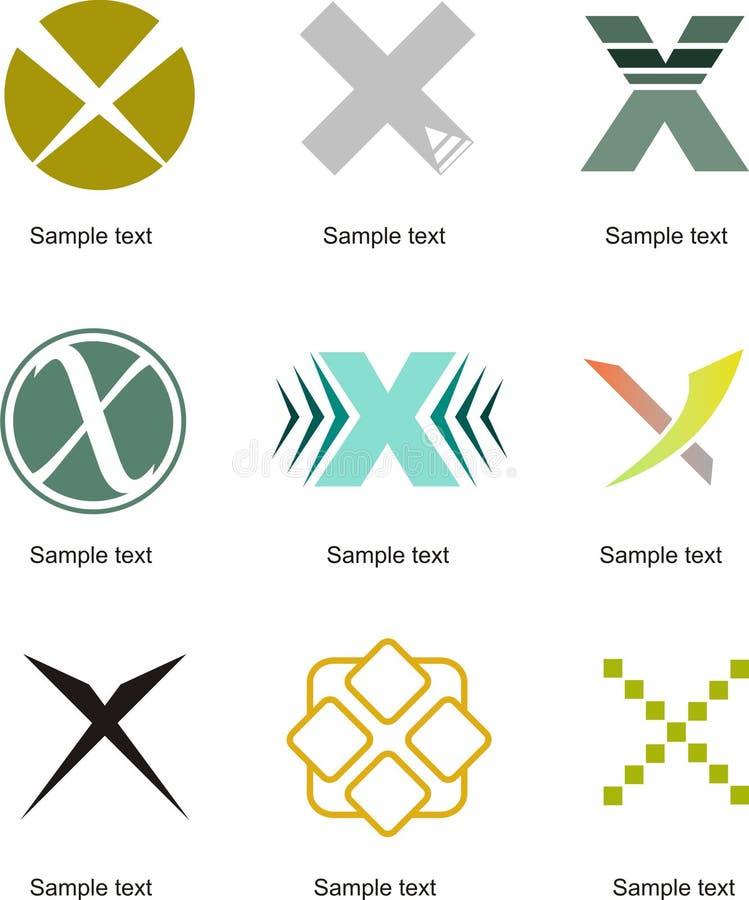 Logo för bokstav X stock illustrationer