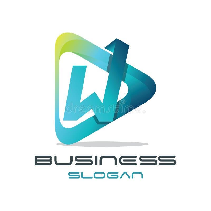 Logo för bokstavsW-massmedia royaltyfri illustrationer