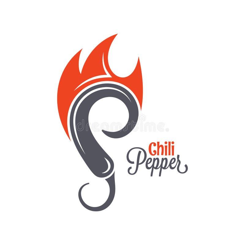 Logo för brand för chilipeppar Varmt kryddigt matemblem på wtebakgrund vektor illustrationer