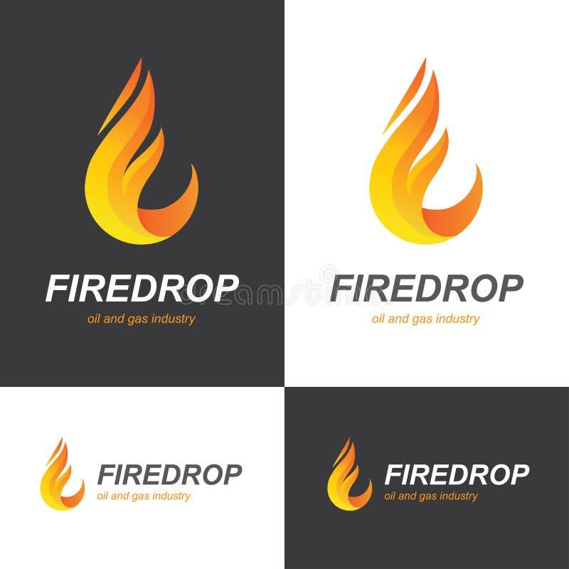 Logo för brandflammadroppe vektor illustrationer