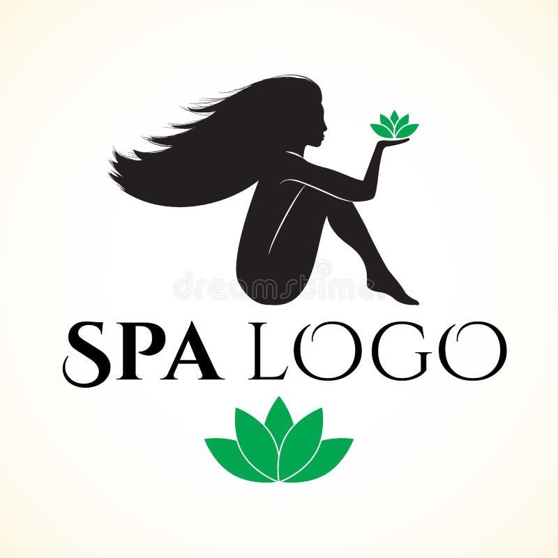Logo för brunnsort eller skönhetsalong med kvinnan royaltyfri illustrationer