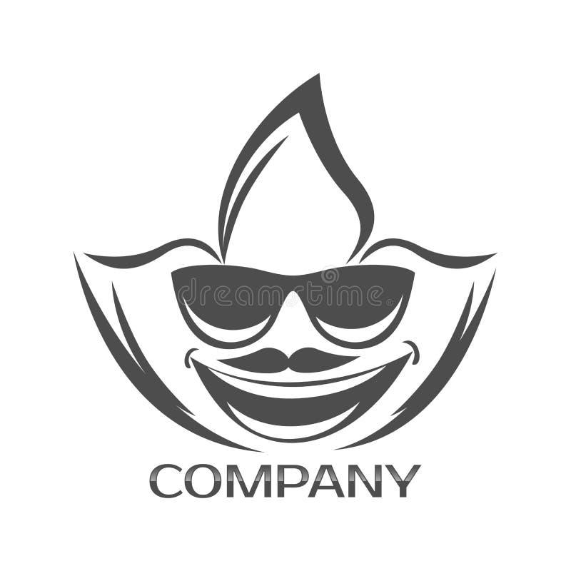 Logo för cannabisblad- och mans framsida också vektor för coreldrawillustration stock illustrationer