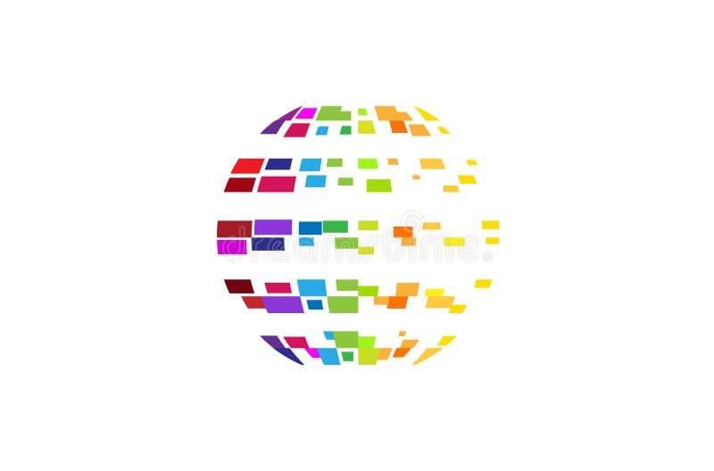 Logo för cirkel för Digital färgrik planetPIXEL stock illustrationer