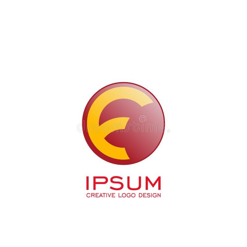 Logo för cirkelbokstav F gul f-logo på röd cirkel glansigt royaltyfri illustrationer