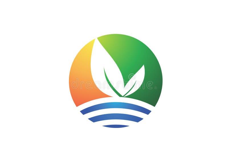 Logo för cirkelnaturväxt, bladsymbol, företags symbol för företag stock illustrationer