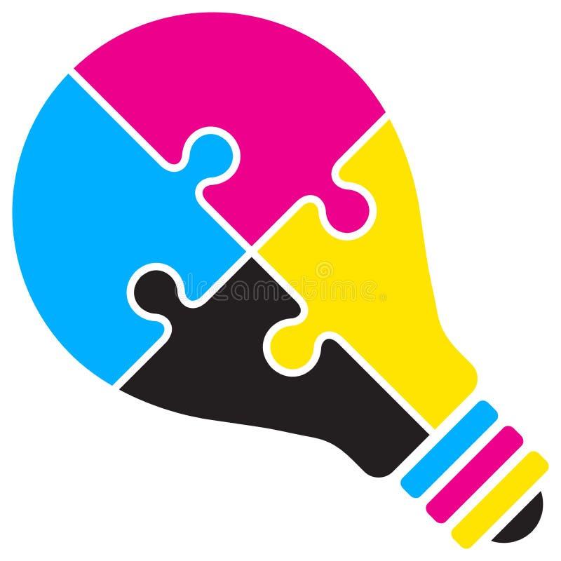 Logo för Cmyk kulapussel royaltyfri illustrationer