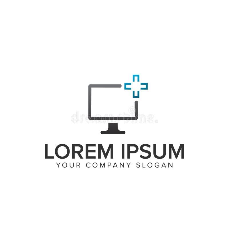 Logo för Computeer skärmservisce vektor illustrationer