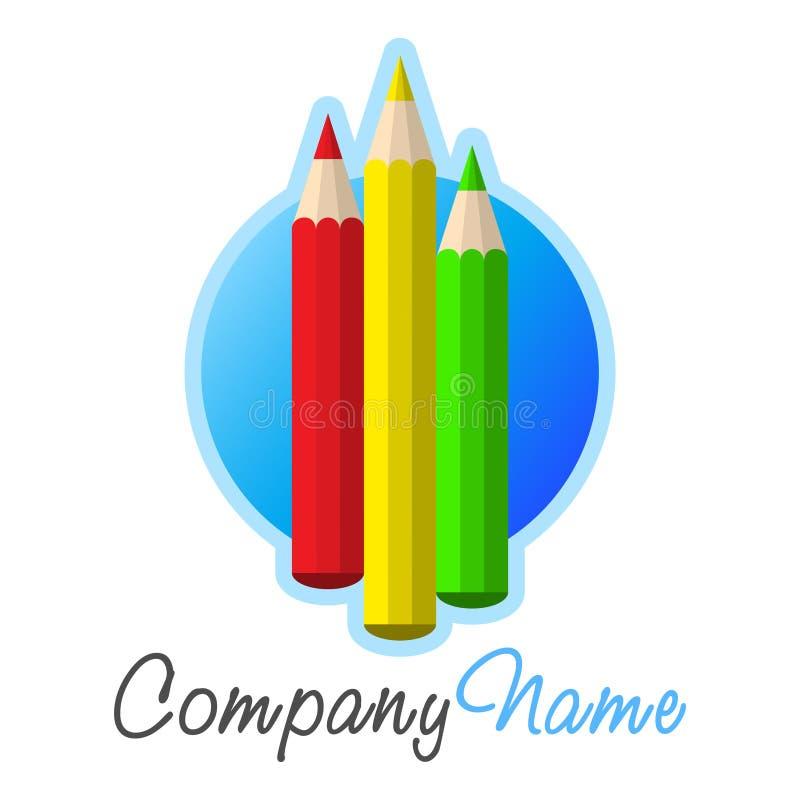 logo för crayonsdesignsymbol royaltyfri illustrationer