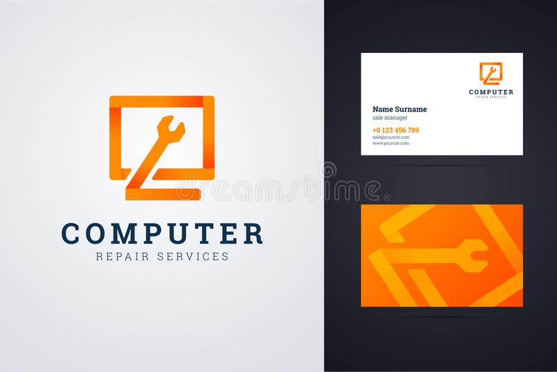 Logo för datorreparationsservice och mall för affärskort royaltyfri illustrationer
