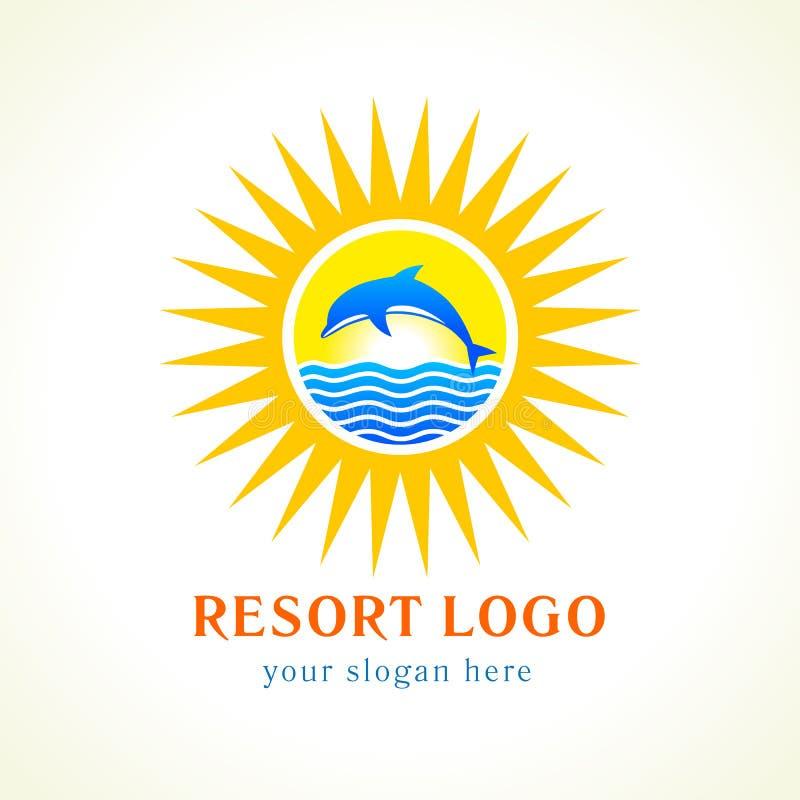 Logo för delfinhavssol royaltyfri illustrationer