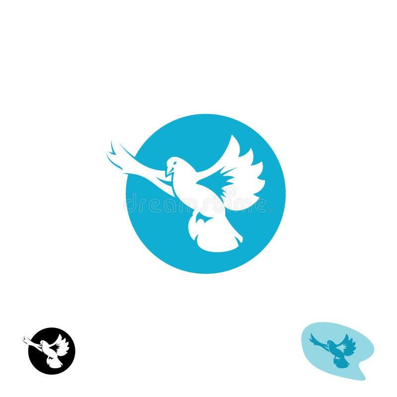 Logo för duvaflygfågel stock illustrationer