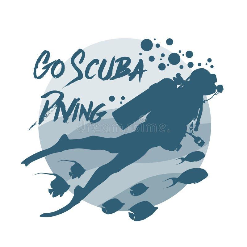 Logo för dykapparatdykning Vektorlogotyp eller emblem för att dyka mitten stock illustrationer