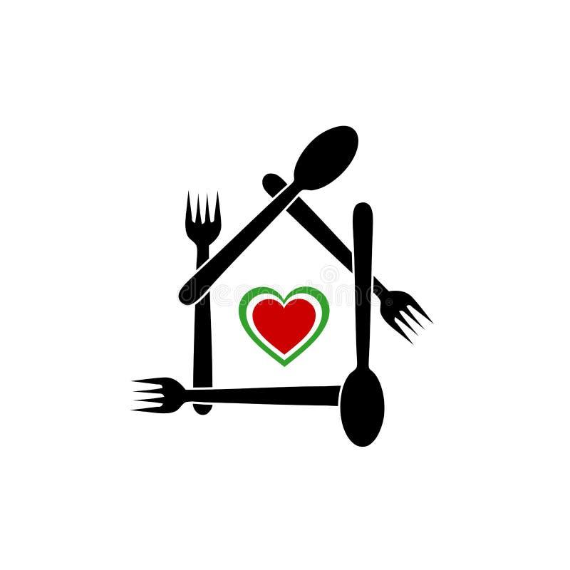 Logo för en italiensk restaurang eller ett kafé royaltyfri illustrationer