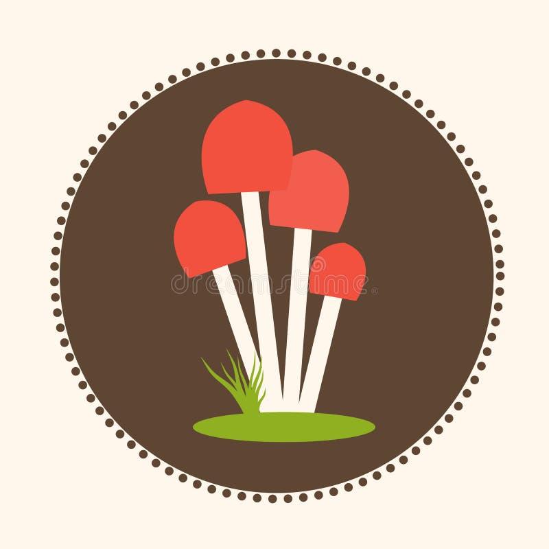 Logo för EPS 10 för vektorHoney Agaric Mushrooms Flat Design illustration royaltyfri illustrationer