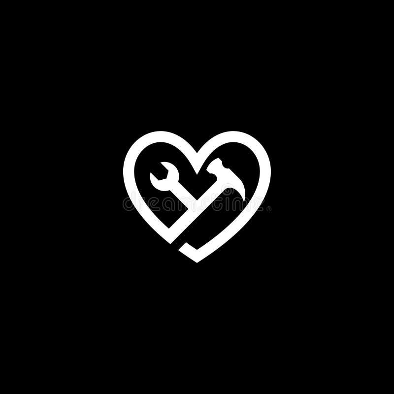Logo för för förälskelsehjälpmedelskiftnyckel & hammare stock illustrationer