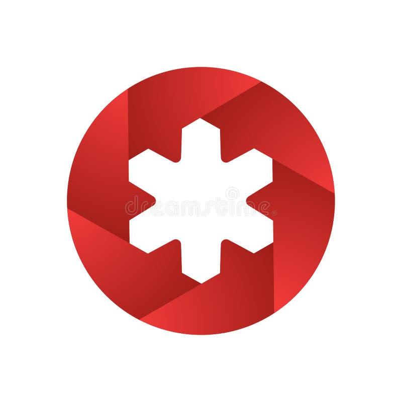 Logo för för designabstrakt begreppslutare och stjärna Oändlig arg mall för symbol för bandvektordesign idérik logo stock illustrationer