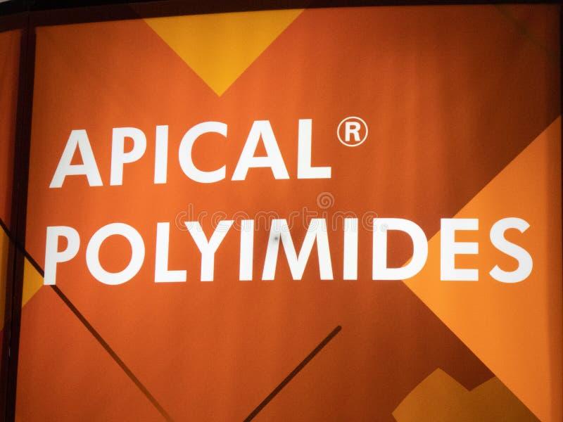 Logo för företag för Kaneka Apical polyimidesfilmer arkivfoton