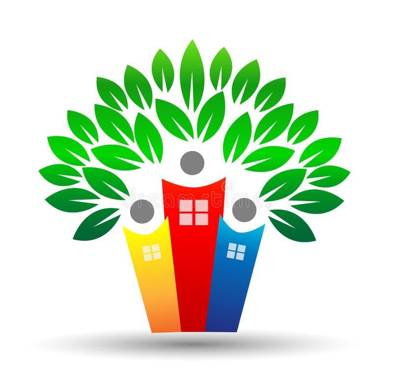 Logo för familjhemlivträd vektor illustrationer