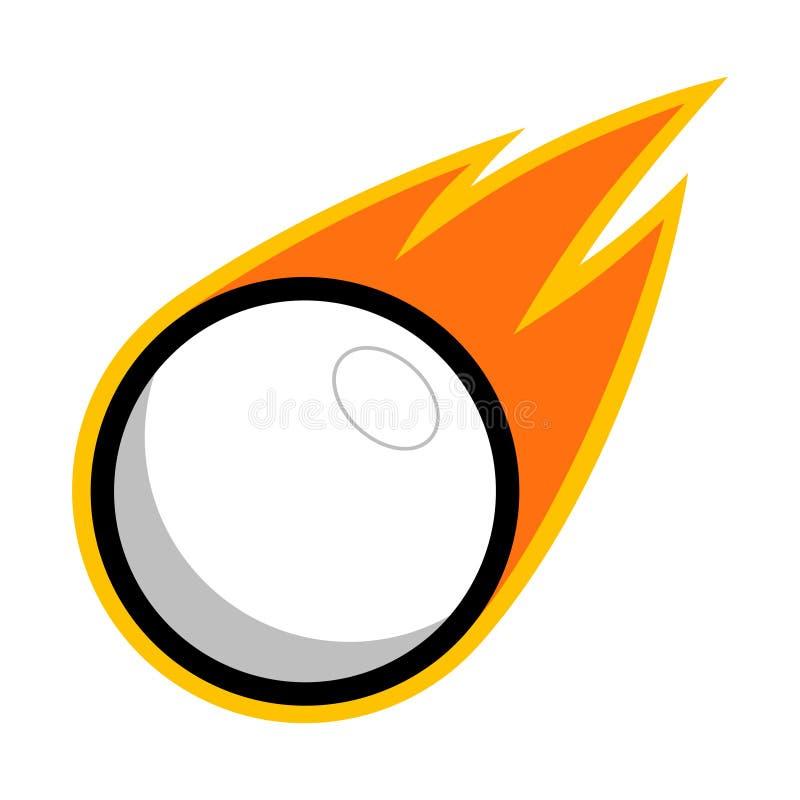 Logo för flyg för svans för brand för komet för boll för lacrossebordtennissport plast- stock illustrationer