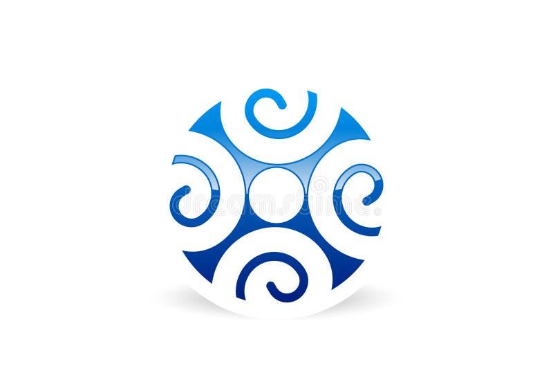 Logo för folkanslutningsteamwork royaltyfri illustrationer