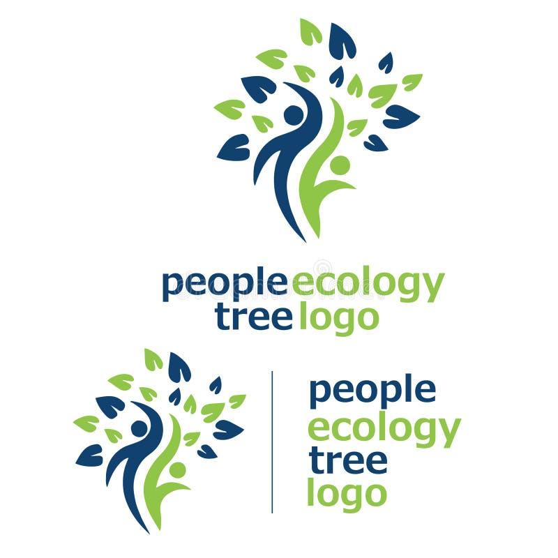 Logo 3 för folkekologiträd royaltyfri illustrationer