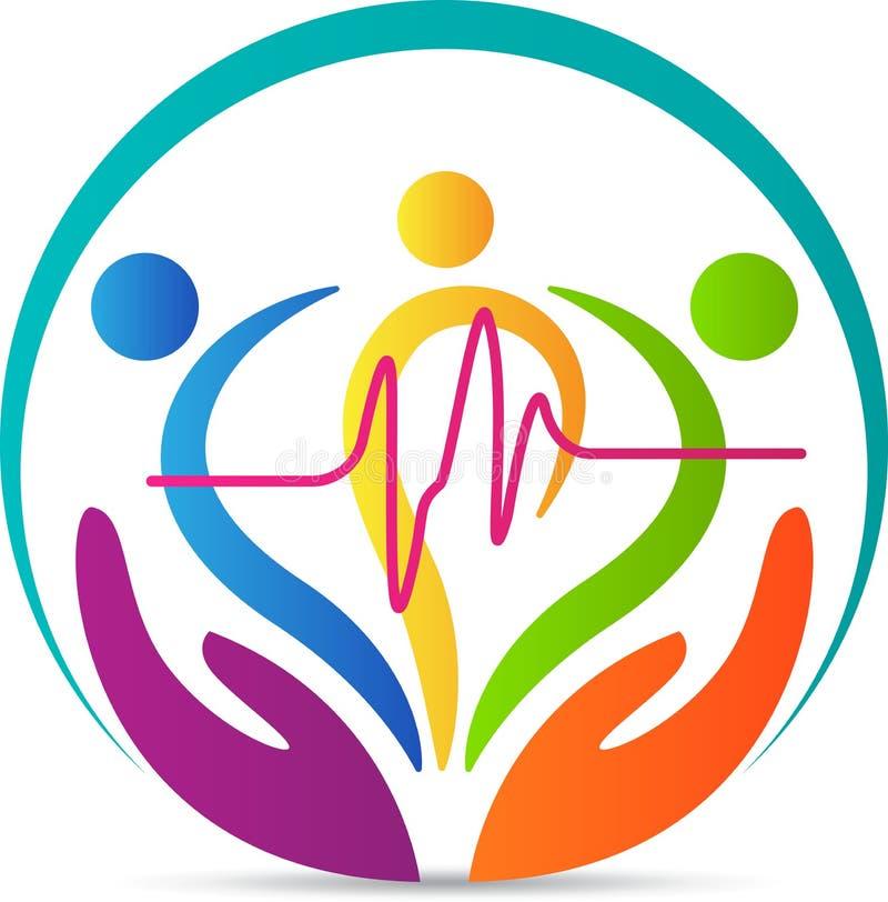 Logo för folkhjärtaomsorg stock illustrationer