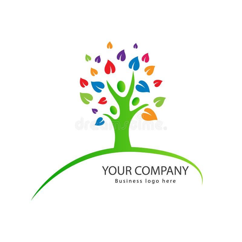 Logo för folkträdfamilj royaltyfri illustrationer