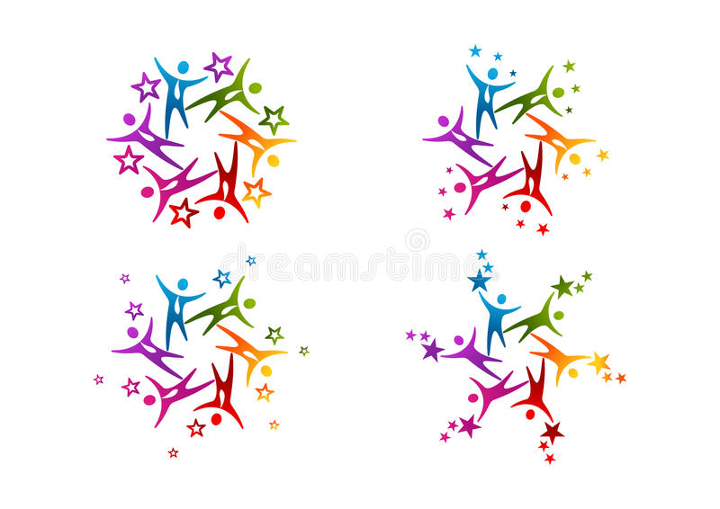 Logo för framgång för lagarbetsstjärna stock illustrationer