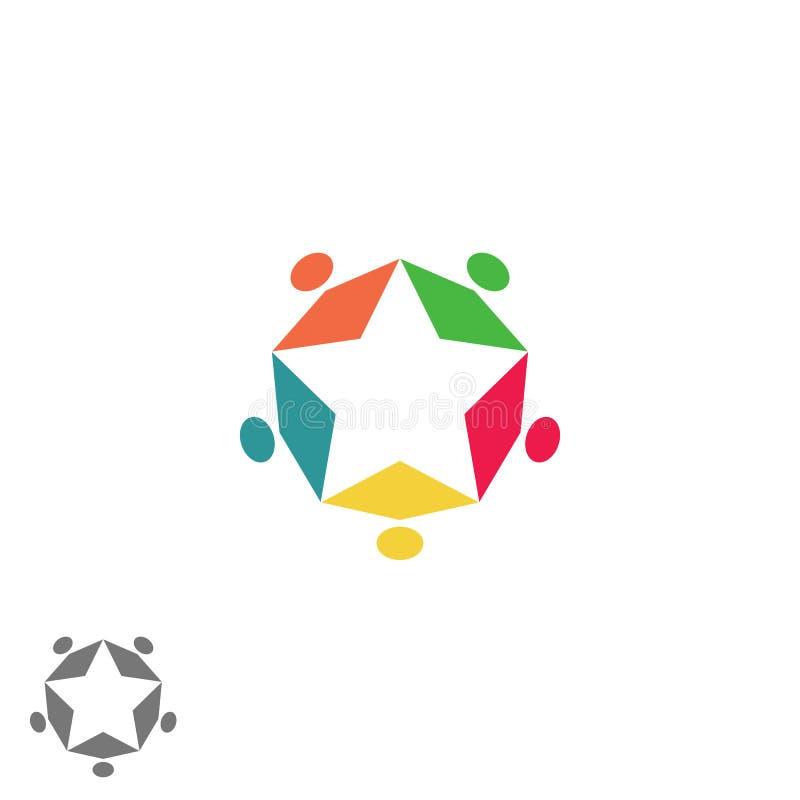 Logo för framgångnäringslivpartnerskap, stjärna för form för folk för teamworkgrupp som abstrakt färgrik möter familjsymbol vektor illustrationer