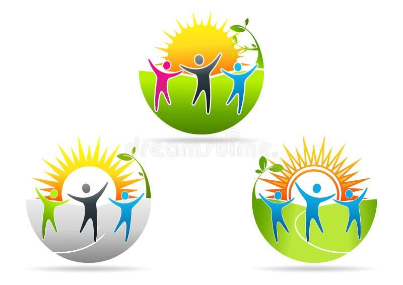 Logo för fysisk hälsa, sjukgymnastikbegreppsdesign vektor illustrationer