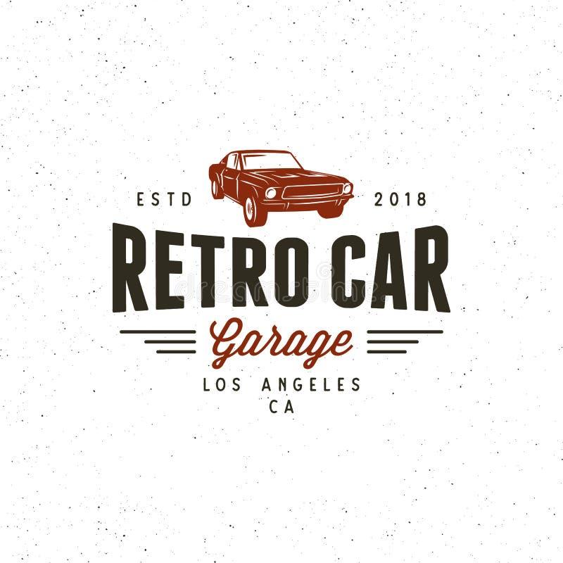 Logo för garage för tappningmuskelbil också vektor för coreldrawillustration stock illustrationer