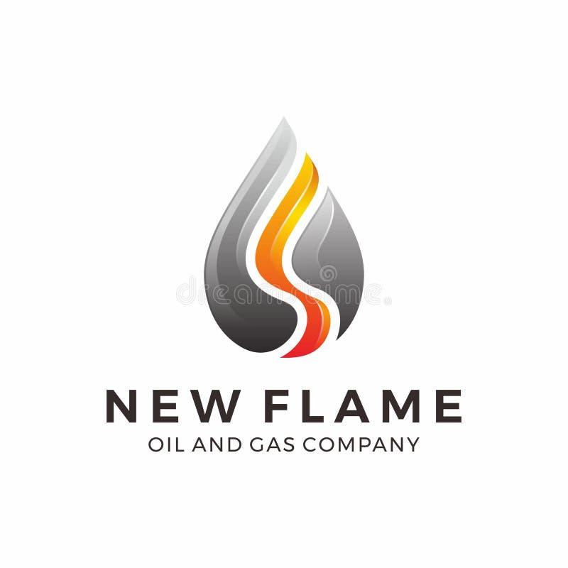 Logo för gasolja med flamman, abstrakt vattenlogodesign, vattenlogo med orange och svart färg stock illustrationer