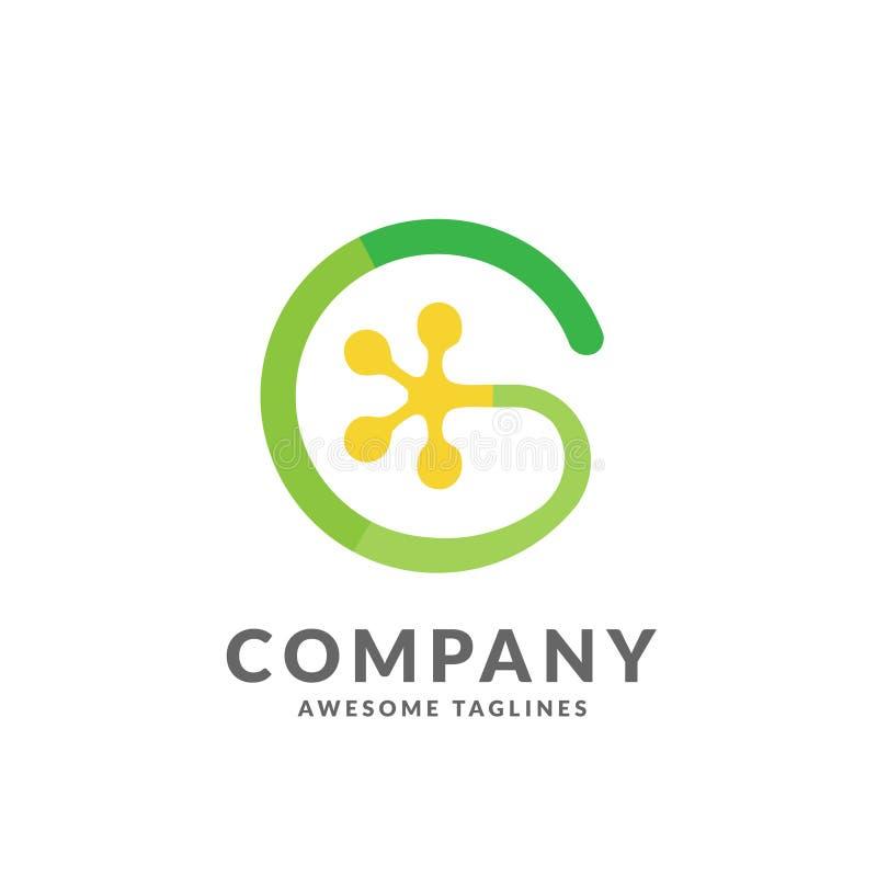 Logo för gecko för G-bokstavsfärg vektor illustrationer