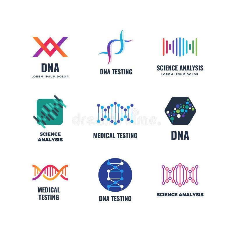 Logo för genetik för vetenskap för Dna-kodbiotech vektor Emblem för spiralmolekylbioteknik stock illustrationer