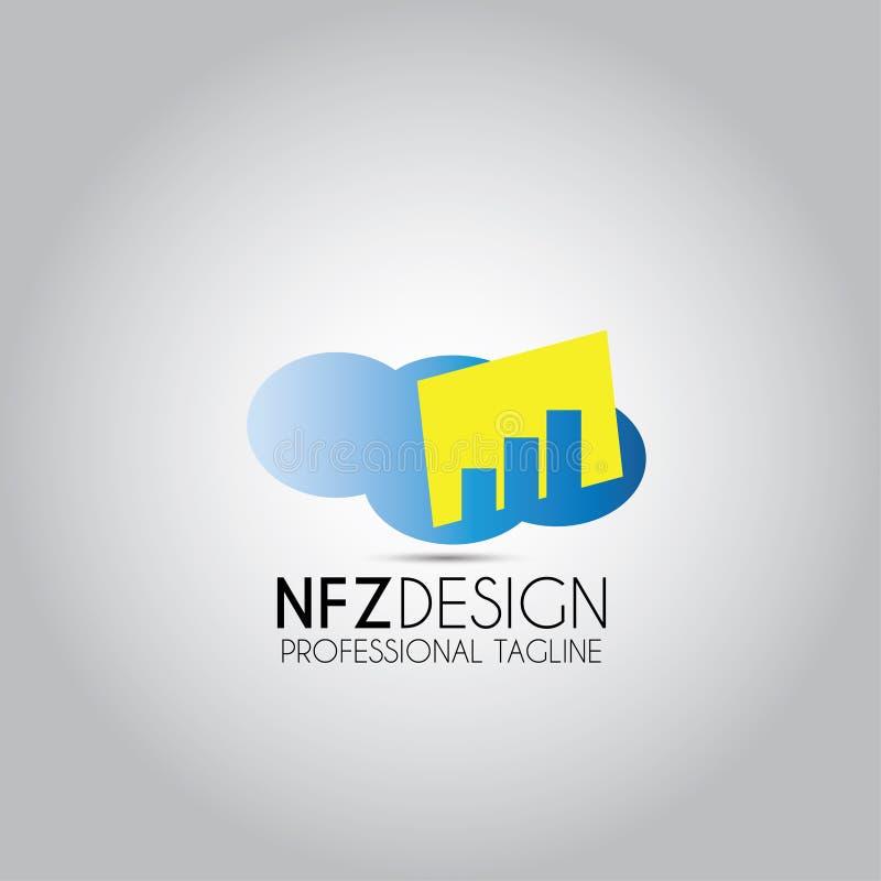 Logo för gods för molnbyggandebyggnad royaltyfri illustrationer