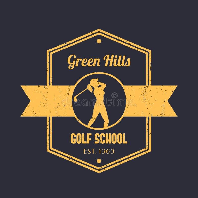 Logo för golfskolatappning, emblem, tetragonal emblem, med flickagolfaren, kvinnlig svängande golfklubb för golfspelare royaltyfri illustrationer