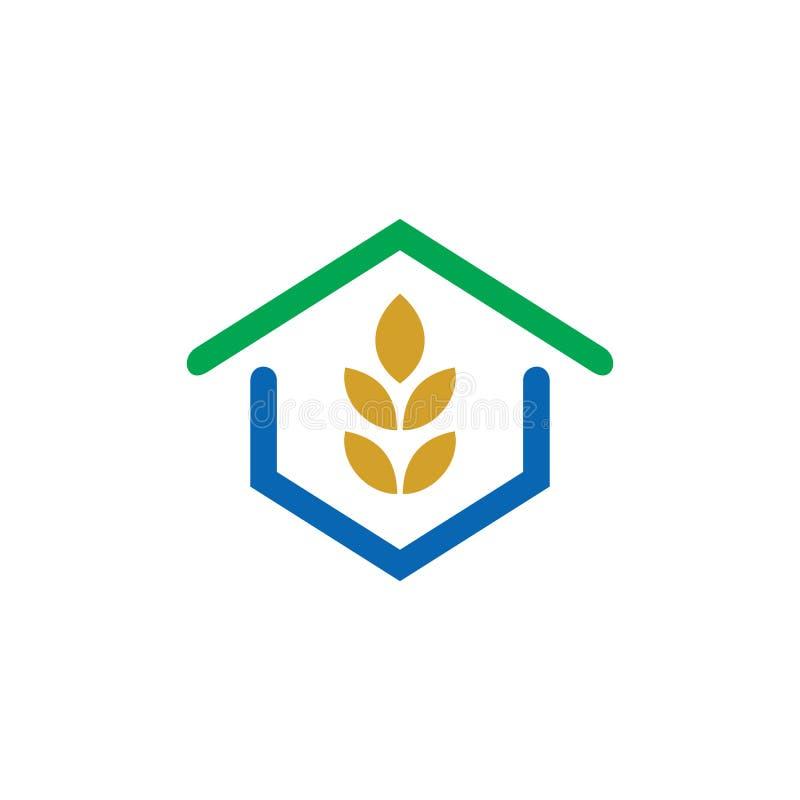 Logo för gräsplan för husecoblad vektor illustrationer