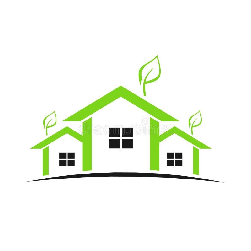 logo för gröna hus stock illustrationer