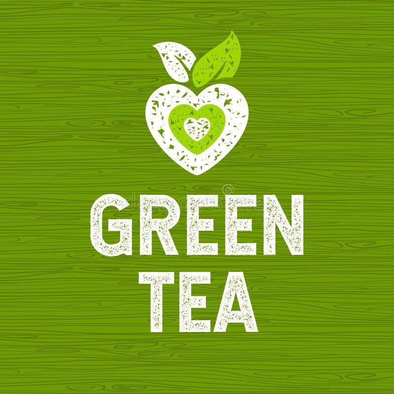 Logo för grönt te Hand tecknad vektorillustration stock illustrationer