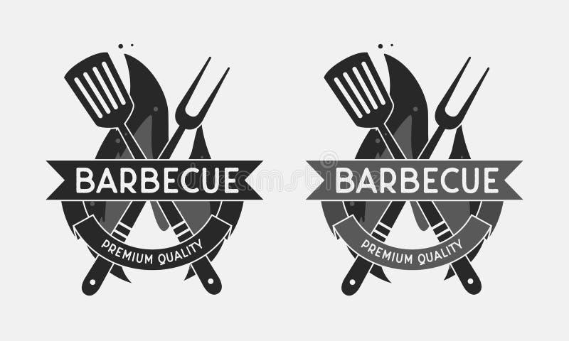 Logo för grillfestrestaurang Grilla gaffeln och spateln som isoleras på brandflamman TappningBBQ-emblem mall också vektor för cor vektor illustrationer