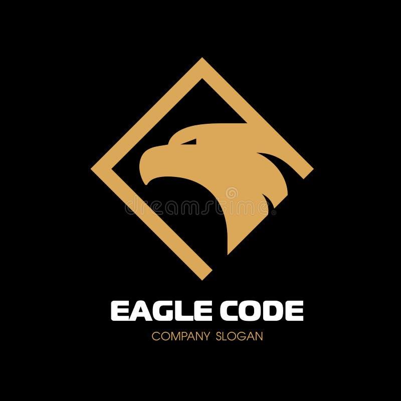 Logo för guld- örn Fågel phoenix Huvudet i profil Vektorlogomall stock illustrationer