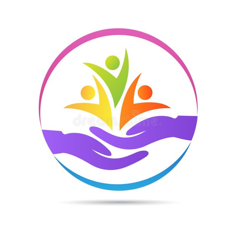 Logo för hälsovård för barnhem för välgörenhet för barn för kvinna för folkwellness hög royaltyfri illustrationer