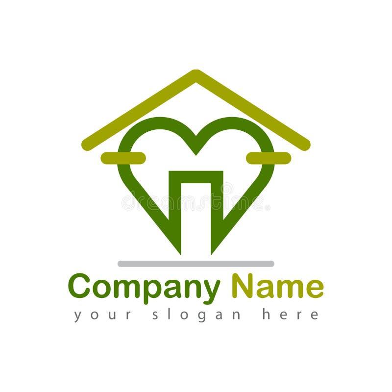 Logo för hälsovårdhjärtahem royaltyfri illustrationer