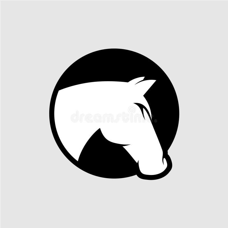 Logo för hästhuvud Svartvit färg vektor illustrationer