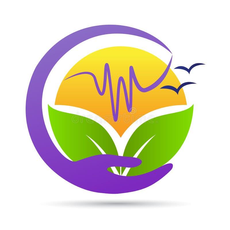 Logo för hand för innehav för omsorg för miljö för gräsplan för naturecovänskapsmatch stock illustrationer