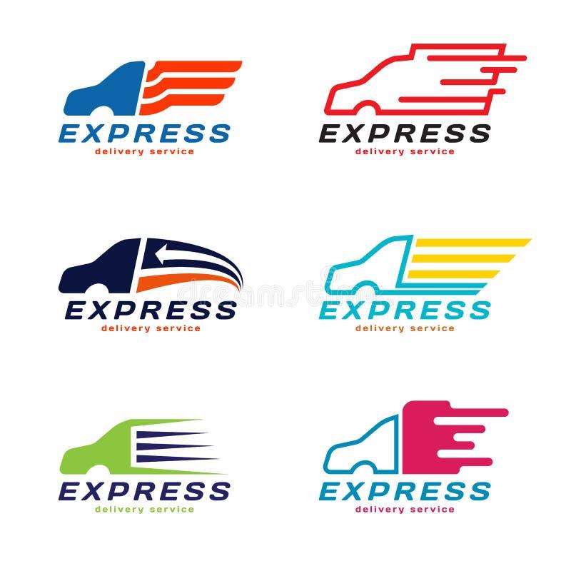 Logo för hemsändning för lastbilbil uttrycklig Fastställd design för vektor stock illustrationer