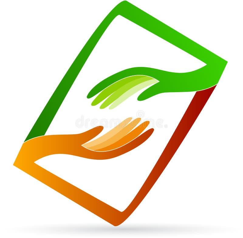 Logo för hjälpande händer stock illustrationer
