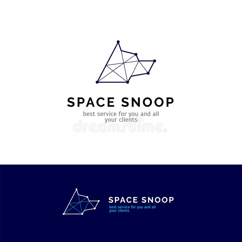 Logo för hundhuvud i linjen stil Symbol för konstellationvektorföretag royaltyfri illustrationer