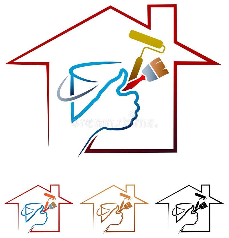 logo för husmålning royaltyfri illustrationer